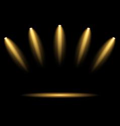 5 golden spotlights on dark background vector