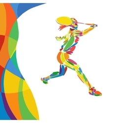 Abstract colorful pattern with Badminton player vector image