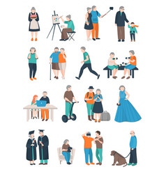 Aged people characters collection vector