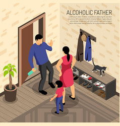 alcoholic father isometric vector image