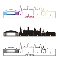 Athens skyline linear style with rainbow vector image