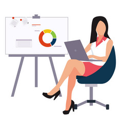 beautiful young business woman presenting with a vector image