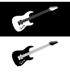 Black and white electric guitar vector image