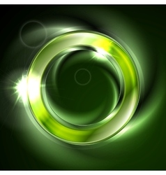 Bright glow green iridescent round logo vector image