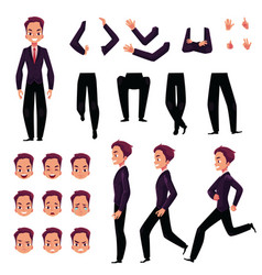 Businessman man character creation set with vector