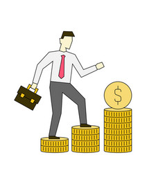 businessman walking up stacks coins business vector image