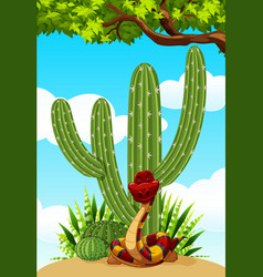 Cactus plant and snake on the ground vector