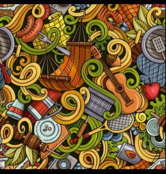 cartoon hand-drawn picnic doodles seamless pattern vector image