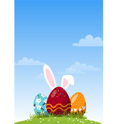 chocolate easter egg with ears in meadow vector image
