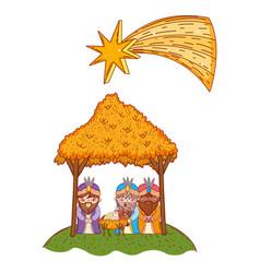 christmas nativity scene cartoon vector image