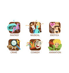 cinema genres set crime fantasy musical vector image
