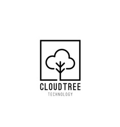 cloud tree logo design vector image