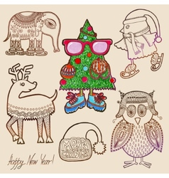 Collection of marker drawing christmas vector
