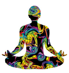 colorful silhouette a man in lotus pose vector image