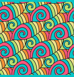 Colorful waves pattern spiral background hippie vector