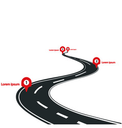 curved road infographic with red pins checkpoint vector image