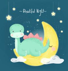 Cute dinosaur sitting on moon vector