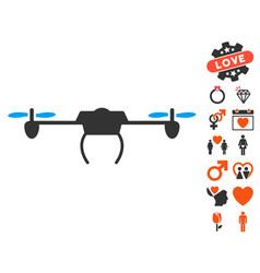 Drone icon with valentine bonus vector