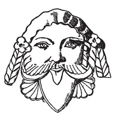 etruscan grotesque mask vintage engraving vector image