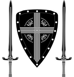 Fantasy shield and swords of european warriors vector