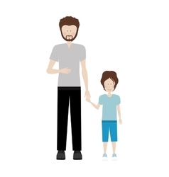 Father holding hand a little boy vector