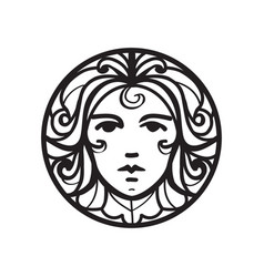 Female face icon vector