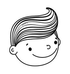 Fiance head male cute cartoon in black and white vector