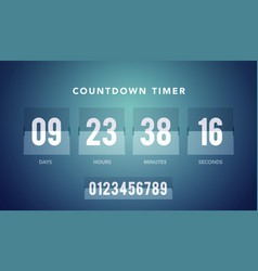 flip countdown clock counter timer for website vector image
