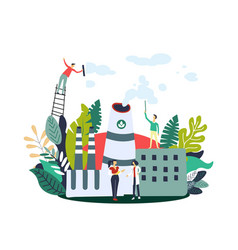 gas emissions reduction people on eco factory vector image