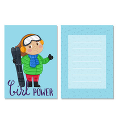 Girl power kids postcard template vector