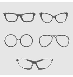 Glasses set Isolated Icons Scribble effect vector image