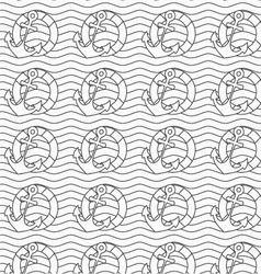 Gray life buoy and anchors on wavy continues lines vector