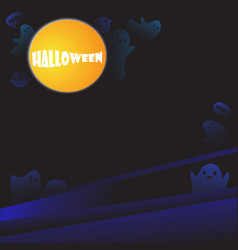 halloween background with cute ghosts vector image