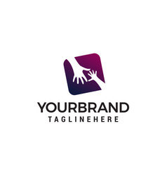hand care logo design concept template vector image