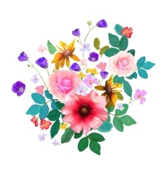 Hand drawn floral bouquet with isolated flowers vector