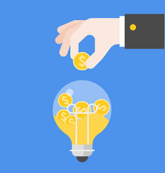 hand inserting coins in light bulb flat design vector image