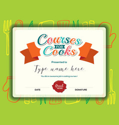 Kids cooking courses certificate design template vector