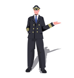 Man pilot in uniform pointing hand on something vector