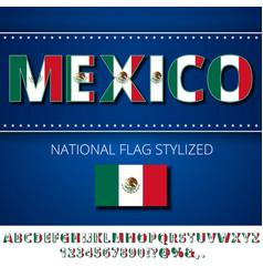 Mexico flag font vector