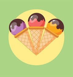 mixed ice cream scoops with cone on background vector image