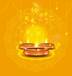 Modern elegant diwali design with candle with vector