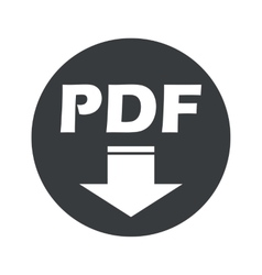 Monochrome round PDF download icon vector image