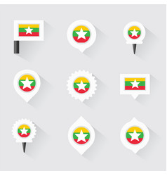 Myanmar flag and pins for infographic and map vector