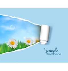 Nature background with ripped paper vector