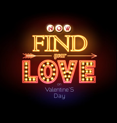 neon sign valentines day typography background vector image
