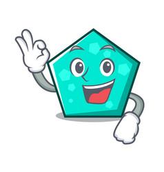 okay pentagon character cartoon style vector image