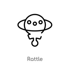 Outline rattle icon isolated black simple line vector