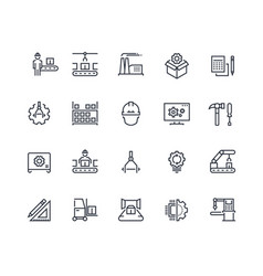 production line icons industry machine production vector image