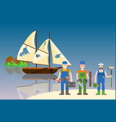 Repairs old ships in bottles vector