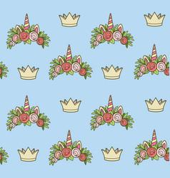 seamless pattern from unicorn tiaras various vector image